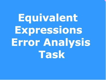 Equivalent Expressions Error Analysis Task