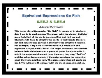 Equivalent Expressions Go Fish