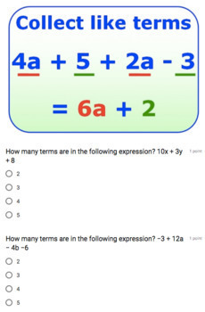 Equivalent Expressions Google Form Bundle – Perfect for Google Classroom!
