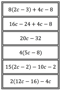 Equivalent Expressions Matching Activity