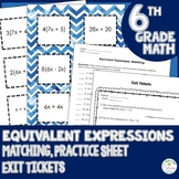 Equivalent Expressions Matching Game, Practice Sheet, and