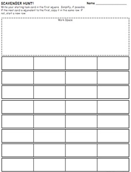 Simplifying Expressions - Matching Task Card Activity