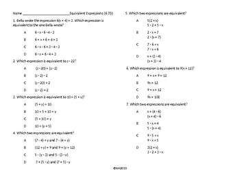 Equivalent Expressions Multiple Choice