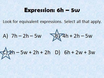 6EEA3 Equivalent Expressions PPT Practice