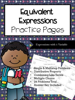Equivalent Expressions Practice Pages