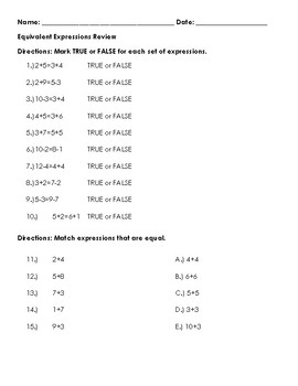 Equivalent Expressions Review Sheet