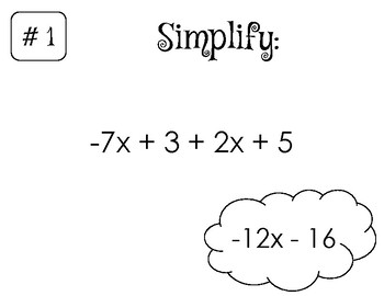 Equivalent Expressions Scavenger Hunt (Simplify, Distribute, Sum, Diff, Factor)