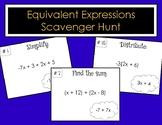Equivalent Expressions Scavenger Hunt (Simplify, Distribut
