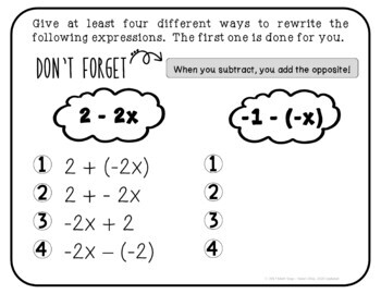 Equivalent Expressions Sorting Activity