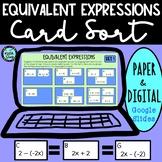 Equivalent Expressions Card Sort & Drag and Drop | PAPER &