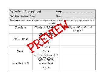 Equivalent Expressions - Student Error