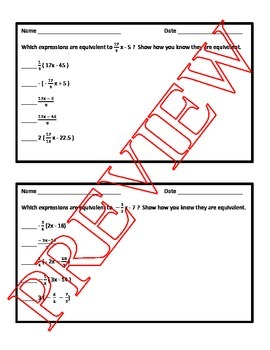 Equivalent Expressions Task Cards
