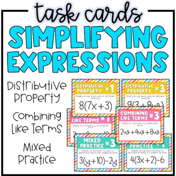 Simplifyin Expressions Task Cards | Combining Like Terms & Distributive Property