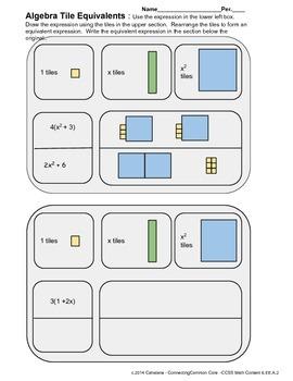 Equivalent Expressions Using Algebra Tiles