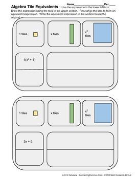 Equivalent Expressions Using Algebra Tiles 2