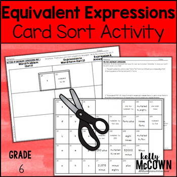 Equivalent Expressions & Variables Card Sort Activity Lesson