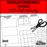 Equivalent Expressions & Variables Cut & Paste Activity