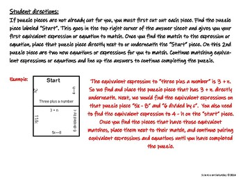 Equivalent Expressions and Equations Puzzle
