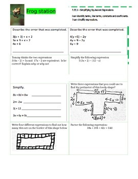 Equivalent Expressions and Solving 2 step Station Activity