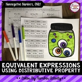 Halloween Equivalent Expressions using Distributive Property Color By Number