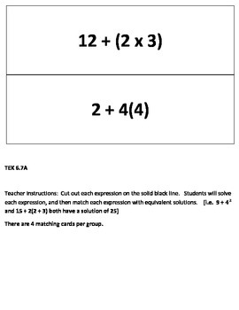 Equivalent Expressions using Order of Operations Sorting Game