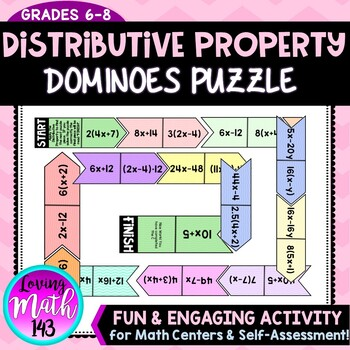 Equivalent Expressions using the Distributive Property - Dominoes Math Activity