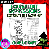 Equivalent Expressions using the Distributive Property - Solve & Color