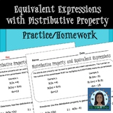 Equivalent Expressions with Distributive Property - Practice/Homework