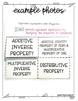 Equivalent Expressions with Properties Lesson for Interactive Notebooks