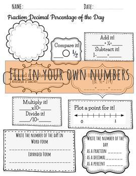 Equivalent FRACTION DECIMAL PERCENT OF THE DAY Daily Review Math Warm up