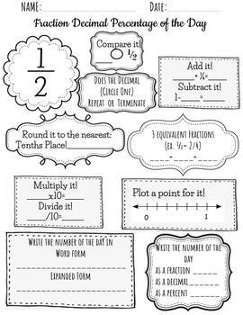 Equivalent FRACTION DECIMAL PERCENT OF THE DAY BUNDLE Daily Review Math Warm up