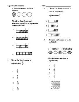 Equivalent Fraction Assessment/Check for Understanding