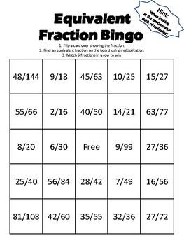 Equivalent Fraction Bingo