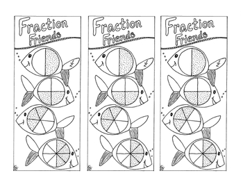 Equivalent Fraction Bookmark Halves Practice PDF Printable Fish Coloring Page