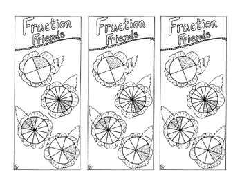 Equivalent Fraction Bookmark One-Fourth PDF Printable Coloring Page