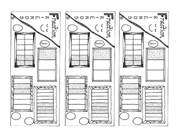 Equivalent Fraction Bookmark One-Third PDF Printable Coloring Page