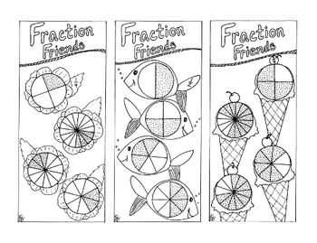 Equivalent Fraction Bookmarks Quarter Half PDF Printable Coloring Page