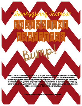 Equivalent Fraction Bump [Thanksgiving Themed]