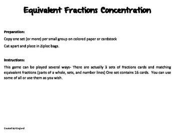 Equivalent Fraction Concentration/Match