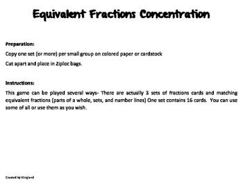 Equivalent Fraction Concentration/Match