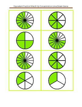 Equivalent Fraction Concentration Match Up Lime Green Game