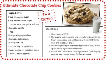 Equivalent Fractions Cookbook Project -- Editable