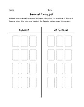 Equivalent Fractions : Cut, Sort, and Paste Activity