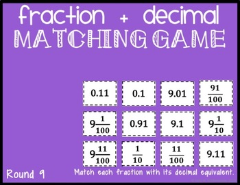 Equivalent Fraction & Decimal Matching Game for Google Drive, 12 Rounds!