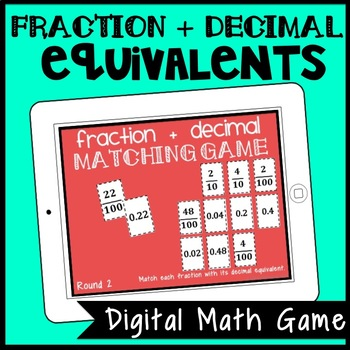 DIGITAL Equivalent Fraction & Decimal Matching Game for Google Drive, 20 Rounds!