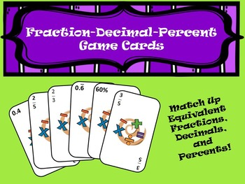 Equivalent Fraction-Decimal-Percent Game Cards