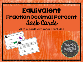 Equivalent Numbers Fraction Decimal Percent Task Cards with Models