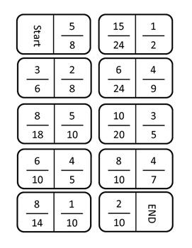 Equivalent Fraction Dominoes Common Core