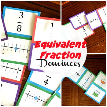 Equivalent Fraction Dominoes - number lines and models