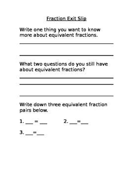 Equivalent Fraction Exit Slip